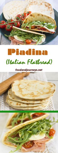 Piadina, a popular Italian flatbread that can be served as a snack or as an appetizer. Best eaten as sandwich with cured-meats and soft cheese; or with jam or nutella!