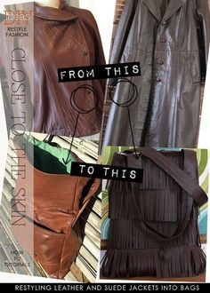 Check out the many tutorials on making your next stylish bag from a leather jacket   DiaryofaCreativeFanatic