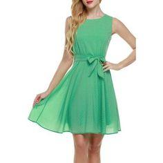 Chiffon Sleeveless A-line Pleated Dress With Belt *Plus