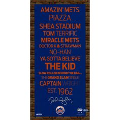 David Wright New York Mets Autographed Mini Subway Sign 9.5x19 Wall Art 4c7850bcd61