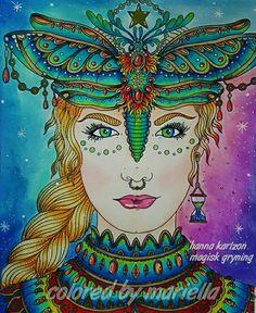 #hannakarlzon #magiskGryning #summernights #daydreams #colorista #coloringbooksforadults #adultcoloring #coloringmaster #stabilocarbothello #stabilo #carbothello #pastelpencils #sharpie #prismacolor #pencil