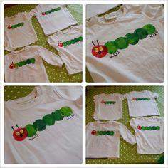 DIY: Raupe Nimmersatt Shirt - My best diy and crafts list Caterpillar Book, Caterpillar Costume, Hungry Caterpillar Party, Quick Crafts, Diy And Crafts, Fireflies Craft, Pin It, Shirt Diy, Social Trends