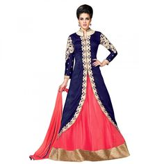 EthnicBasket Wedding Wear Semi Stitched Lehenga Suit In Navy Blue Color