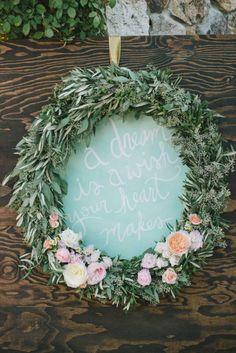 Wreath sign: http://www.stylemepretty.com/2014/10/09/romantic-outdoor-affair-in-a-sea-of-pastel/ | Photography: Delbarr Moradi - http://delbarrmoradi.com/