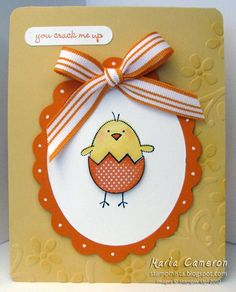Easter Chick    The little chick inspired this color combo of So Saffron and Pumpkin Pie.  Accessories include:  Elegant Bouquet Stampin' Up! Textured Impressions Die, Oval Scallop Frame Bigz Die, Pumpkin Pie 1/2 Inch Striped Grosgrain Ribbon and the Uni-Ball Signo White Gel Pen.  There is also a tiny bit of the new Sweet Pea Designer Series Paper used for the egg shell.