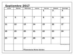 Calendario septiembre 2017 para imprimir, gratis. Calendario mensual : Tiberius (L). La semana comienza el lunes