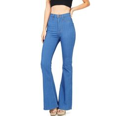 Pink Ice Jango Flared High Waist Bell Bottom Jeans ($50) ❤ liked on Polyvore featuring jeans, high waisted flare jeans, bell bottom jeans, chiffon cami, blue cami and high waisted stretch jeans
