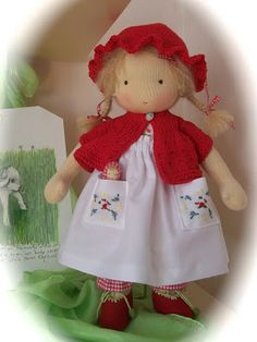 Poppenatelier Ineke Gray- love the dress and sweet little doll in the pocket!