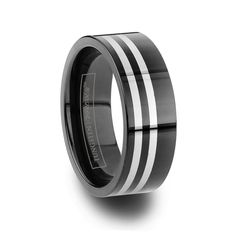 The double pin Zebre is going for style. This black tungsten carbide band has a double white pin stripe off set, wrapping the ring. With the two pin stripes b Lesbian Wedding Rings, Cool Wedding Rings, Wedding Ring Designs, Wedding Ring Bands, Stainless Steel Wedding Bands, Black Tungsten Rings, Jewelry Stores Near Me, Tungsten Wedding Bands, Fashion Rings