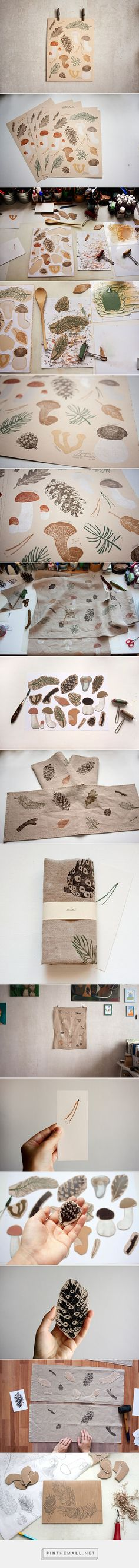 forest prints on paper and fabric by Olga Ezova-Denisova