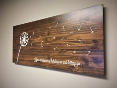 Dandelion Home Decor, Wood Wall Art, Dandelion Art, Rustic wooden sign, blowing seeds, quote sign, carved home wall decor, stained wood by HowdyOwl on Etsy