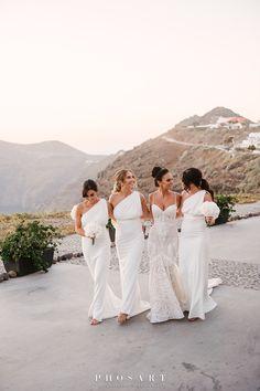 Weddings Santorini | Wedding Planners in Santorini Pastel Bridesmaid Dresses, Lace Bridesmaid Dresses, Santorini Wedding, Wedding Planner, Pastel Bridesmaid Gowns, Wedding Planer