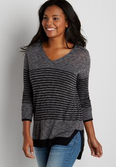 striped pullover with high-low hem (original price, $29.00) available at #Maurices