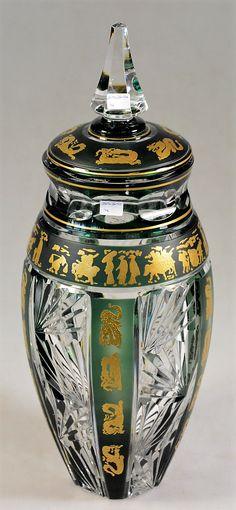 Val Saint Lambert , Vase 'Fuji Yma', décors Chinois 1972 - Hubert Lega