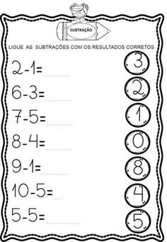 Atividades de Subtração Toddler Learning Activities, Math Activities, Kids Learning, Kindergarten Math Worksheets, Alphabet Worksheets, Math Subtraction, Preschool Writing, Reading Comprehension Worksheets, Math For Kids