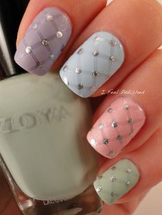 Easter Nails pastel criss cross in matte and glossy