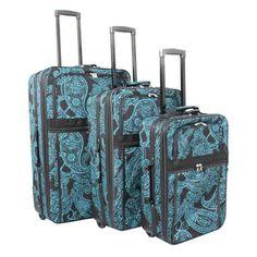 World Traveler Paisley 3 Piece Expandable Upright Luggage Set - 818903-640