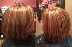 Highlight and lowlights!  Three colors copper brunette and blonde!  Dimensional color ! Inverted bob. Red brown and blonde  #kkhhair