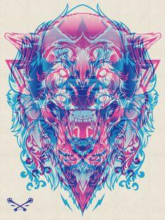 via Halftone Print Series (http://www.behance.net/gallery/Halftone-Print-Series-Wolf-Lion/3538419)
