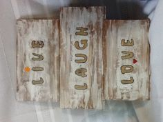 Old scrap wood, slap paint on it then sand it off. Stencil words and fill them with glue and glitter. I just duck taped them together on the back. Hang it on the wall. Glitter Paint, Duck Tape, Arts And Crafts Projects, Barn Wood, Repurposed, Stencils, Fill, Scrap, Sayings