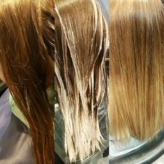 Before, during and after #balayage