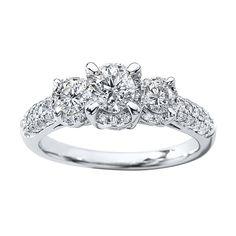 ea058f056 I like the basic design but with princess cut Kay Jewelers 3 Stone Diamond  Ring 1 carat round cut White Gold.