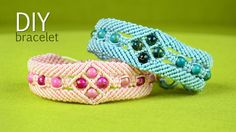 How to make a Macrame Bracelet with Diamonds and Beads - Diamond window pattern, tutorial. Watch more beaded macrame bracelets in playlist: http://goo.gl/b4i...