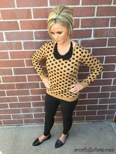 Caramel polka dot sweater outfit with collar necklace.  I love polka dots!