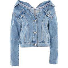 TopShop Moto Off Shoulder Denim Jacket (290 BRL) ❤ liked on Polyvore featuring outerwear, jackets, coats, coats & jackets, mid stone, off the shoulder denim jacket, topshop jackets, off-shoulder jackets, denim jacket and blue jackets