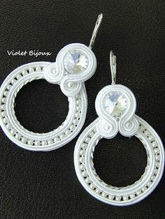 White wedding soutache earrings by Violetbijoux Soutache Necklace, Beaded Earrings, Earrings Handmade, Handmade Jewelry, Pendant Earrings, Bead Jewellery, Beaded Jewelry, Jewelery, Boho Jewelry
