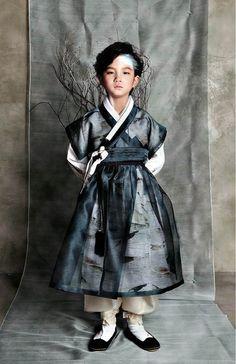 A boy in a hanbok