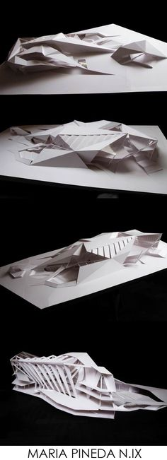 "Intriguing integration with the ""space"". Folding Architecture, Architecture Design, Public Architecture, Concept Architecture, Futuristic Architecture, School Architecture, Amazing Architecture, Landscape Architecture, Arch Model"