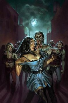 'Zombie Terror' by Aly Fell. Cover for Asylum Press. Arte Horror, Horror Art, Sexy Horror, Zombie Kunst, Zombie Art, Zombie Pose, Dead Zombie, Star Anime, Arte Do Pulp Fiction