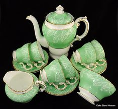 Cauldon Pale Green China Tea Set