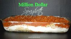 1l ground beef 1 jar of spaghetti sauce 8 oz of cream cheese ¼ cup sour cream ½ lb cottage cheese (equals 1 cup) ½ cup butter (1 stick) 1 pkg spaghetti 16 oz Grated cheddar cheese Instructions Preheat your oven to 350°. Boil your spaghetti noodles until al dente (firm). Drain and set aside until ready to assemble. Combine the cream cheese, sour cream and cottage cheese until well blended. Brown your hamburger and when done, drain well. Combine the hamburger with your spaghetti sauce. Put a