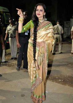 rekha Saree | Rekha Rekha in saree bollywood celebrity fashion