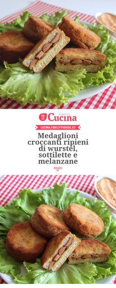 Medaglioni croccanti ripieni di #wurstel, #sottilette e #melanzane della nostra utente Gloria. Unisciti alla nostra Community ed invia le tue ricette!
