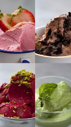 Frozen Yogurt 4 Ways Fresh fruit and crushed cookies transform plain ol' yogurt into a treat worthy of devouring.<br> Fresh fruit and crushed cookies transform plain ol' yogurt into a treat worthy of devouring. Yogurt Ice Cream, Frozen Yoghurt, Fruit Yogurt, Banana Ice Cream Healthy, Homemade Frozen Yogurt, Healthy Frozen Yogurt, Strawberry Frozen Yogurt, Yogurt Dessert, Matcha Ice Cream