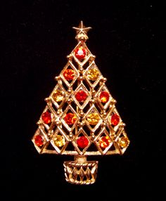 VINTAGE autumn colors  HEDY CHRISTMAS TREE PIN!