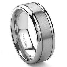 Titanium Kay Titanium 8mm Grooved Wedding Ring Size 6-14