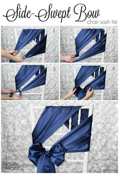 How to tie a Side-Swept Bow chair sash! Classy spin on regular chair bows. Wedding Chair Decorations, Wedding Chairs, Wedding Chair Sashes, Wedding Chair Covers, Ribbon Decorations, Wedding Seating, Diy Wedding, Wedding Reception, Wedding Ideas