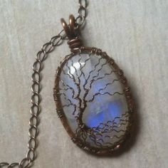 Large Flashy Blue Moonstone Copper Wire Wrapped Tree of Life Pendant | DesignsinCopper - Jewelry on ArtFire