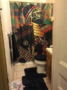 Bathroom Decorating – Home Decorating Ideas Kitchen and room Designs African Shower Curtain, Small Studio Apartments, Bathroom Shower Curtains, Kitchen Decor, New Homes, Design Inspiration, House Styles, Apartment Ideas, Pride