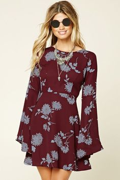 Forever 21 Contemporary - A woven skater dress featuring a floral print, long bell sleeves, a self-tie back, concealed zipper, and a flared hem. Women's Dresses, Cute Dresses, Dress Outfits, Casual Dresses, Short Dresses, Fashion Dresses, Dresses With Sleeves, Summer Dresses, Long Sleeve Dresses