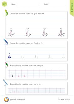 Letter Tracing Worksheets, Tracing Letters, French Cursive, French Language Lessons, French Classroom, Pre Writing, Teaching Tools, Handwriting, Journal