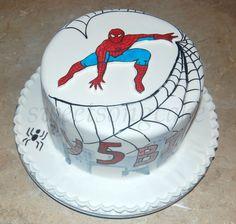 Spiderman hand painted cake