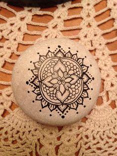 Boho Mandala Painted Stone