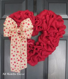 Red Burlap Heart Wreath with Red Polka Dot Bow by AllMonthsDecor