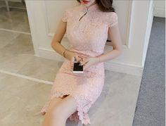 ドレス-ミニ・ミディアム チャイナ風 レース ドレス ピンク 大人可愛い 結婚式ワンピース(2)