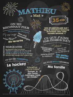 Affiche personnalisée anniversaire pour adulte Fou des manèges | 35,00$ #chalkboard #lacraieco 35e Anniversaire, Forty Birthday, Ol Days, Chalkboard Art, Good Ol, Arts And Crafts, Birthday Parties, Scrapbook, Invitations